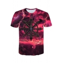 Hot Trendy Cloud 3D Printed Short Sleeve Round Neck Red T-Shirt