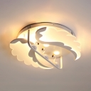 Flamingo Shape LED Flush Light Creative Metal White Ceiling Fixture in Warm/White for Bedroom