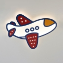 Cartoon Airplane LED Flush Light Contemporary Acrylic Ceiling Light in Warm/White for Kid Bedroom