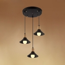 Cone Shade Dining Room Hanging Lamp Metal 3 Lights Industrial Ceiling Light in Black