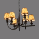 Industrial Tapered Shade Chandelier Metal 6 Lights Brown Pendant Light for Restaurant Villa