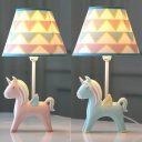 Unicorn Child Bedroom Desk Light Dimmable Resin 1 Light Cartoon LED Reading Light in Blue/Pink