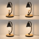 Kid Bedroom Cone Shade Desk Lamp Metal 1 Light Nordic Style LED Night Light in Black for Dormitory