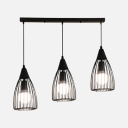 Cone Cage Restaurant Suspension Light Metal 3 Lights Antique Style Hanging Light in Black