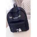 LOOK WHAT LOOK Letter Cartoon Figure Print Solid Color Canvas School Bag Backpack for Girls 35*28*9 CM