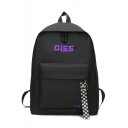 Retro Big Capacity DISS Letter Print Plaid Ribbon Embellished Oxford Cloth Backpack 40*30*13 CM