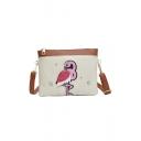 Cute Cartoon Flamingo Pattern Zipper Long Strap Crossbody Purse 21*4*16 CM