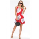 Womens Summer New Fashion Printed Scoop Neck Sleeveless Mini A-Line Red Tank Dress