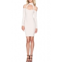 Womens Basic Simple Plain Halter Neck Cutout Cold Shoulder Long Sleeve Mini Cream White Pencil Dress