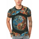 Chinese Style Dragon and Tiger Printed Round Neck Short Sleeve Black Tee