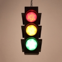 Restaurant Traffic Light Hanging Lamp Metal 3 Heads Creative Green & Red & Yellow Pendant Light