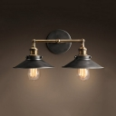 Vintage Style Cone Shade Wall Lamp 2 Lights Edison Bulb Wall Sconce in Aged Steel for Corridor