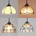 1 Light Bowl Pendant Light with/without Beads Tiffany Style Glass Hanging Light for Balcony