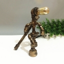 Industrial Robot Table Light with Open Bulb Metal 1 Light Bronze Desk Lamp for Kid Bedroom