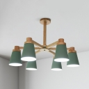 6/8 Lights Tapered Shade Pendant Light Modern Wood Chandelier in Green for Living Room