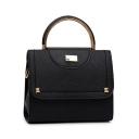 Simple Plain Rivet Embellishment Top Handbag Leather Satchel Handbag 20.5*8*17.5 CM