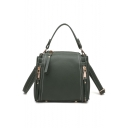 Trendy Plain Double Zipper Side Crossbody Bucket Bag Satchels 20*12*16 CM