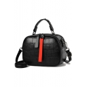 Fashion Stone Texture Pattern Rivet Embellishment Top Handle Zipper Satchel Shoulder Bag 21*9*15 CM