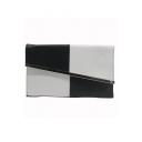 Fashion Color Block PU Leather Crossbody Clutch Pursue Envelope Bag 30*8 CM