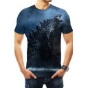 King of the Monsters Cool 3D Printed Short Sleeve Round Neck Blue Tee