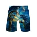 Popular King of the Monsters Cool 3D Lightning Dragon Print Casual Relaxed Sport Shorts