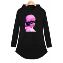 Vaporwave Funny Figure Letter I NEED YOU Print Long Sleeve Mini Hooded Dress