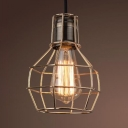 Restaurant Bulb Cage Suspension Light Metal 1 Light Antique Style Legacy Brass Pendant Light