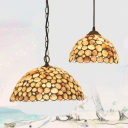 Vintage Style Beige Hanging Light Small Dot 1 Light Shell Pendant Light for Cloth Shop