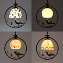 Shell Dome/Globe Pendant Light 1 Light Rustic Style Hanging Lamp with Bird for Restaurant