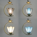 Antique Style Conical Pendant Lamp 1 Light 8 Inch Glass Hanging Light for Cloth Shop