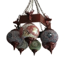 Sphere Restaurant Pendant Light with Deer Metal 6 Lights Moroccan Rustic Colorful Chandelier