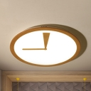 Modern Beige LED Ceiling Mount Light Clock Shape Acrylic Flush Light in Warm/White for Kindergarten