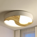 Beige Two Heart Flushmount Light Nordic Style Wood Ceiling Light in Warm/White for Nursing Room