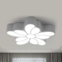 White Flower LED Flush Mount Light Romantic Metal Third Gear/White Lighting Ceiling Fixture for Girl Bedroom