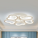 Modern Hearts Semi Flush Ceiling Light Aluminum 3/5/12 Heads Warm/White Light LED Ceiling Lamp