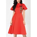 New Chic Floral Embroidery Button Front Stand Collar Vintage Fit and Flared Dress