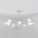Orb Shade Living Room Chandelier Clear/Milk Glass 10/12/16 Lights Creative Pendant Light in White