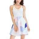 Summer Stylish Geometric Pattern Lace-Insert Sleeveless V-Neck Mini A-Line Cami Dress
