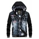 Men's New Trendy Patched Long Sleeve Letter Badge Hooded Zip Up Black Denim Coat Jacket