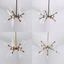 Dining Room Starburst Chandelier Metal & Glass 12/16 Lights Modern Stylish Black/Gold Hanging Lamp