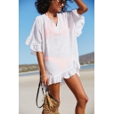 Womens Summer Holiday Simple Plain V-Neck Ruffled Hem Mini Beach Dress Bikini Cover Up Dress