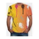 Fashion Yellow Watercolour Painting Round Neck Short Sleeve T-Shirt