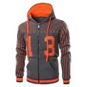 Men's Simple Cool Number 13 Print Stripe Long Sleeve Zip Up Slim Fit Hoodie