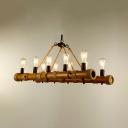 10 Lights Linear Pendant Light Retro Loft Bamboo Island Light in Beige for Living Room