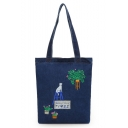 Popular Cartoon Cat Plant Letter TIMES Embroidery Pattern Denim Canvas Shoulder Bag 33*37*6 CM
