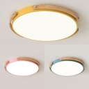 Macaron Loft Round Flush Ceiling Light Acrylic Warm/White Lighting LED Ceiling Lamp in Blue/Pink/Yellow for Teen