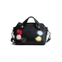 Trendy Plain Colored Plush Ball Embellishment PU Leather Shoulder Satchel Bag 25*14*10 CM