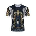 Popular Dream Gold Wing Printed Round Neck Short Sleeve Slim T-Shirt