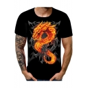 Cool Fire Dragon Skull Pattern Mens Round Neck Short Sleeve Black T-Shirt