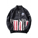 New Fashion Pattern Stand Up Collar Long Sleeve Zip Up Street Fashion Baseball Jacket for Men